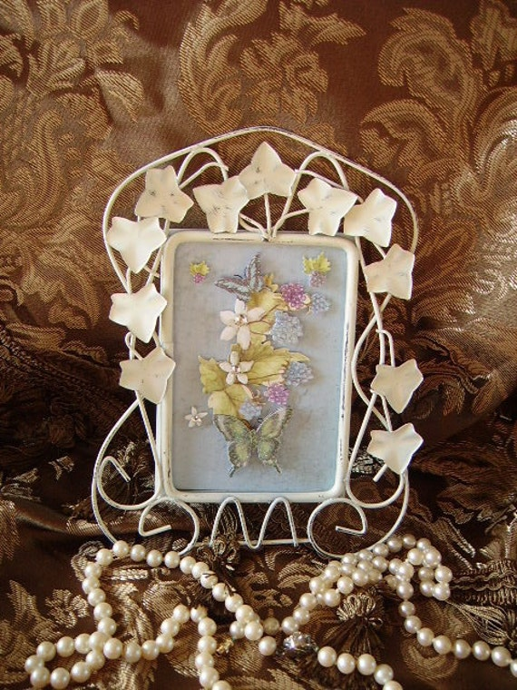OOAK Shabby and Chic English Garden Ivy Frame with Butterflies and flowers distressed white and blue