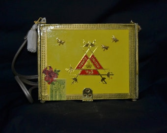 Yellow Montecristo cigar box purse