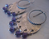 Boho Chic Disk Earrings with African Amethyst