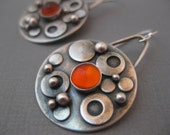 Bubble Earrings.  Sterling silver rounds with Mexican Opal