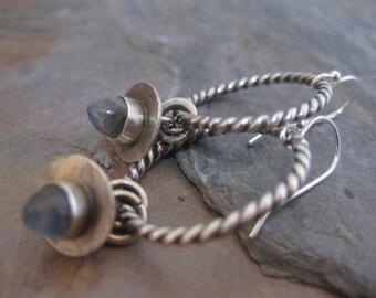 Medium Sterling Silver Hoop Earrings with Labradorite Bullet
