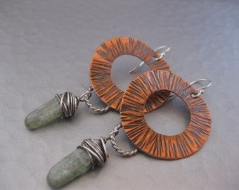 Hammered Copper Earrings with Green Kyanite