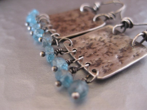 Sterling Silver Square Earrings with Small Apatite