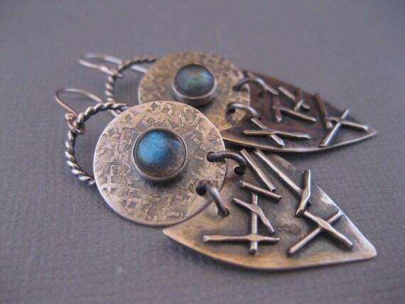 Artisan Sterling Silver Earrings with Labradorite