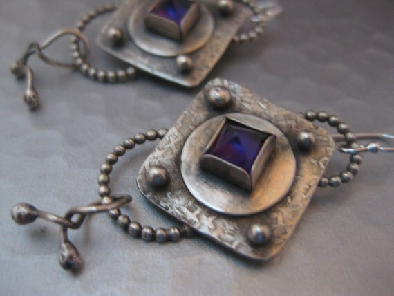 Artisan Sterling Silver and Amethyst Earrings