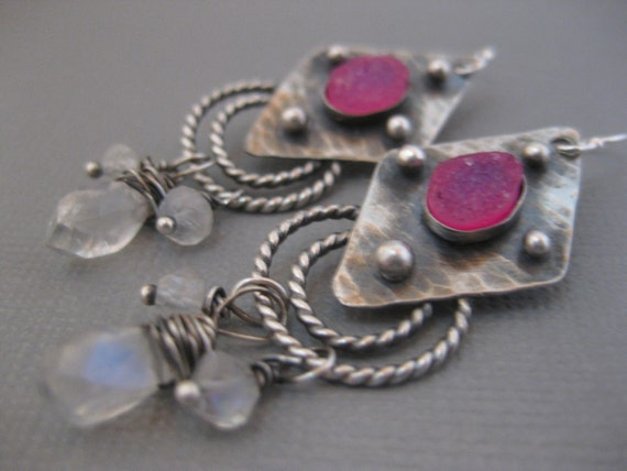 Artisan Sterling Silver Earrings with Pink Druzy