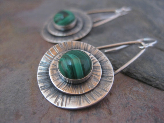 Sterling Silver Disk Earrings with Malachite