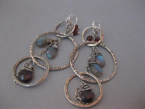 Sterling silver hoop earrings with labradorite and garnets