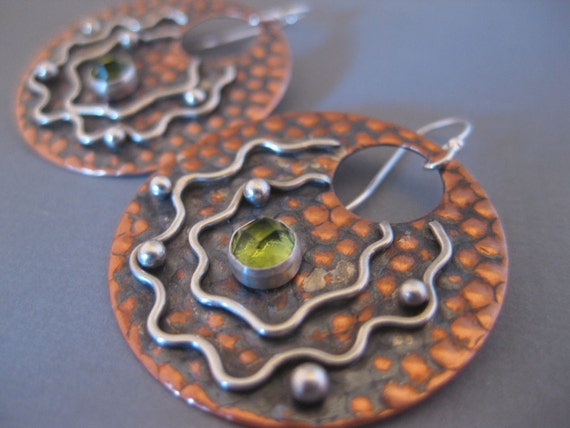 Large Copper Disk Earrings with Peridot Cabochon