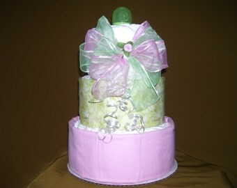 Baby Shower Diaper Cake RIBBON Gift Table Decoration Party Favors Boy Girl Twins Gender Reveal Receiving Blankets