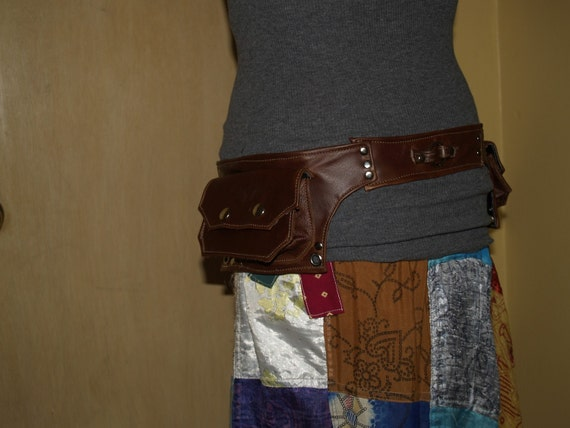 MADE TO ORDER brown leather double hip pocket belt