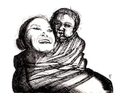 Maternal. Archival Print. Pen and Ink Art. Mother and Child. Ink Drawing
