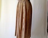 gorgeous silk shantung- look pleated maxi skirt size medium/large