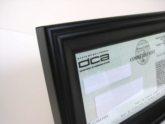 black satin business cosmetology license frame