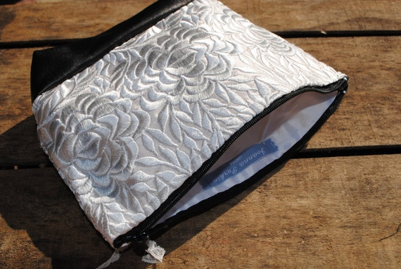 Dove Silver Embroidery Make up Bag