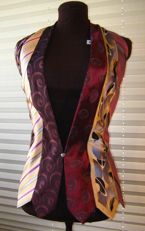 Women S Vest Made Entirely Of Neckties In Burgundy