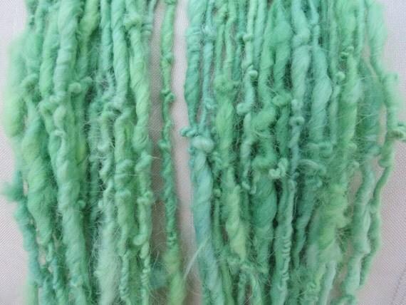 Green Angora Bunny  Handspun Art Yarn Bulky 18 yards