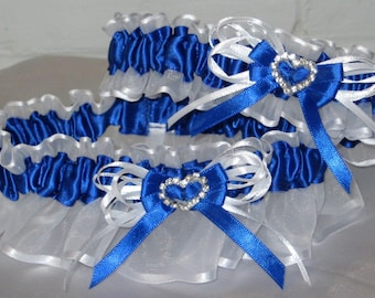 Royal Blue And White Garter Set With Rhinestone Heart