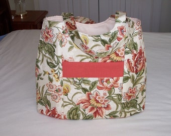 Floral and Striped Tote