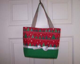 Red and Green Evergreen Trees Tote