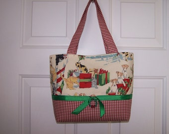 Cats and Dogs Cream Christmas Tote