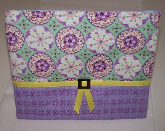 Lavendar, Pink Flowers and Green with Yellow Ribbon Cosmetic Tote