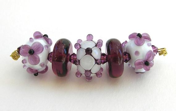 Lampwork bead glass set (5) Amethyst, White, Black Dots, Flowers, Disk