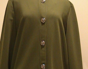 Olive Green Button Front Dress with High Collar