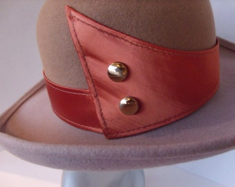 Vintage Tan and Gray Hat with Coral Satin Fashion Band