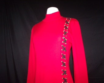 Neiman Marcus Red Knit Long Sleeve Dress with Pleated Skirt / Side Braided Detail