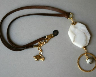 Opal Slab Pendant and Leather Cord Eyeglass Holder Necklace