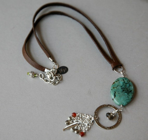 Turquoise and Leather Eyeglass Holder Necklace