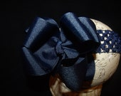 SASSYLILPRINCESSES..Double Layered NaVy Boutique Bow and Interchangeable Headband