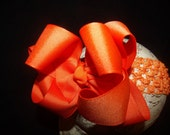 Hair Bow Double Layered Orange Boutique Bow and Interchangeable Headband newborn toddler big girl