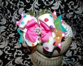 Over The Top Boutique Hairbow..Color Boom Spikey Layered Boutique Bow and Interchangeable Headband..Great for Newborn Toddler big Girl