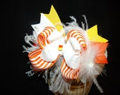 Halloween Hairbow..Candy Corn Princess Layered Bow with Headband..Great for Newborn Toddler big Girl