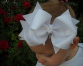 Spikey Boutique HairbowFREESHIPPING..WhiteLayered Double Bow and Headband..Great for Newborn Toddler big Girl