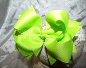 Hairbow Lime Double Layered Spikey Hair Bow with Headband..Great for Newborn Toddler Big Girl