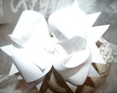Hairbow..White Double Layered Spikey Hair Bow with Headband..Great for newborn toddler big girl