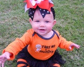 Halloween Hairbow..Pumpkin Patch Princess Layered Bow with Headband..Great for Newborn Toddler big Girl