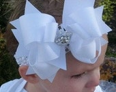 Spikey Boutique Hairbow..Big Ole White Spikey Layered Double Bow and Headband..Great for Newborn Toddler big Girl