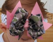 Double Hair bow..Camo Princess Spikey Layered Double Bow and Headband..Great for Newborn Toddler big Girl