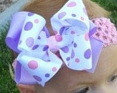 Hairbow..Lavender and Pink Dots Double Layered Boutique hair bow with Headband..Newborn Toddler Big Girl