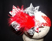 Over The Top Boutique Hairbow..Red n Black Scroll Spikey Layered Boutique Bow and Headband..Great for Newborn Toddler big Girl