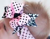 Spunky Spikey Layered Double Bow and Headband..Great for Newborn Toddler big Girl