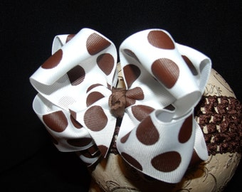 Boutique Hairbow..Double Layered Big Brown Dots Bow and Interchangeable Headband..Great hairbow for Newborn Toddler and Big Girl Wear