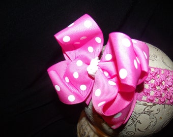 SASSYLILPRINCESSES..Double Layered Hot Dot Boutique Bow and Interchangeable Headband
