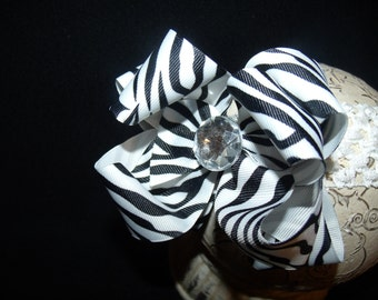 Boutique Hair bow Double Layered Zebra Bling  and Interchangeable Headband..Great hairbow for Infant Toddler and Big Girl Wear