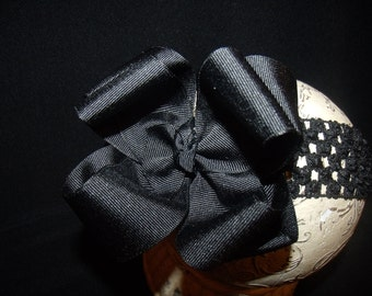 Double Layered Black  Boutique Hair bow and Headband..Great hairbows for newborn toddler big girl wear