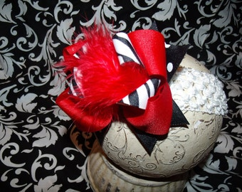 Over The Top Boutique Hairbow..Zebra Red Spikey Layered Boutique Bow and Interchangeable Headband..Great for Newborn Toddler big Girl